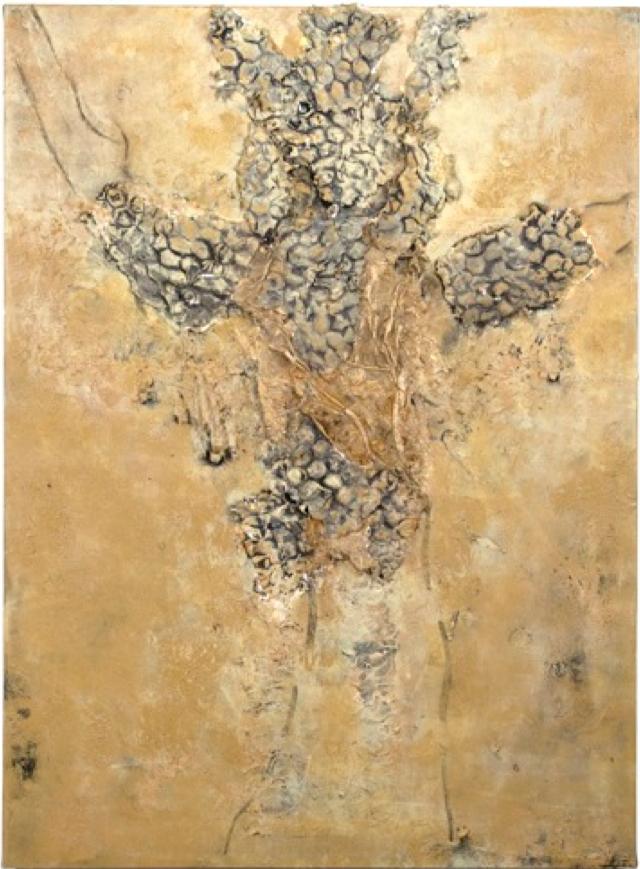 """Mary Mountcastle Eubank, Beekeeper, acrylic on canvas with mixed media, 34"""" x 46"""""""
