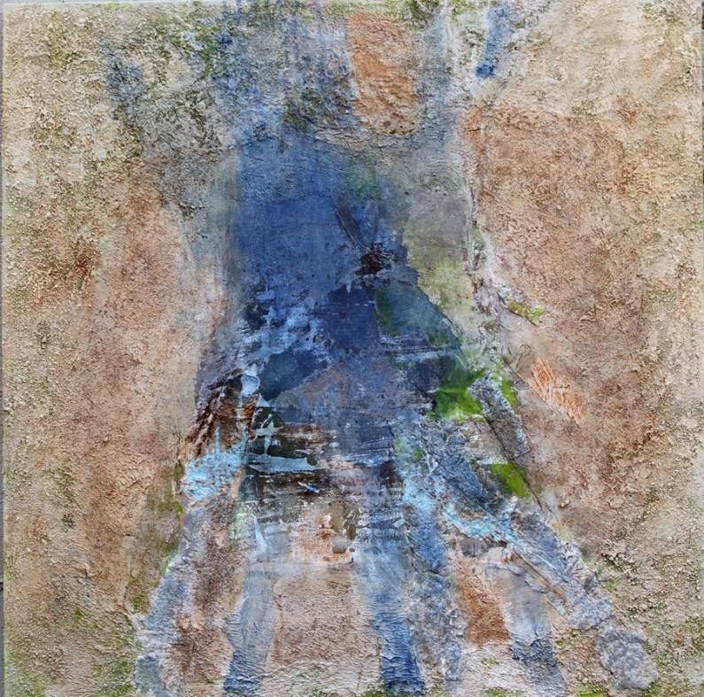 "Mary Mountcastle Eubank, Blue Roots, acrylic on canvas with mixed media, 44"" x 44"""