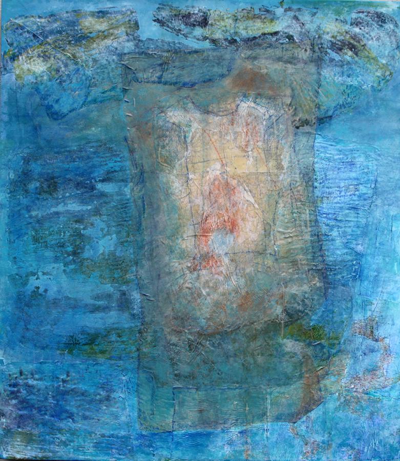 "Mary Mountcastle Eubank, Dissolution, acrylic on canvas with mixed media, 44"" x 48"""