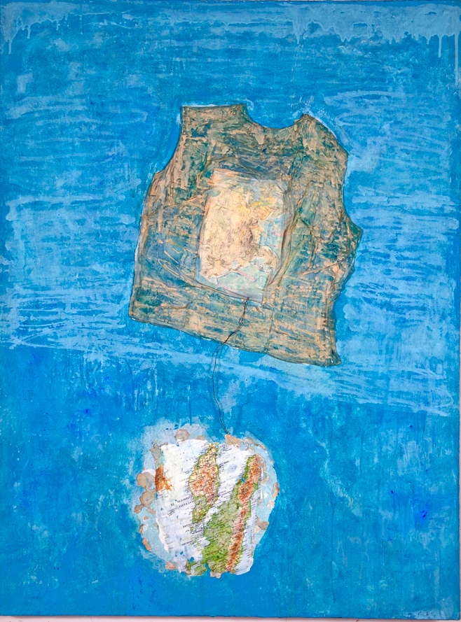 "Mary Mountcastle Eubank Flotation Devices, Drifting, acrylic on canvas with mixed media, 48"" x 36"""