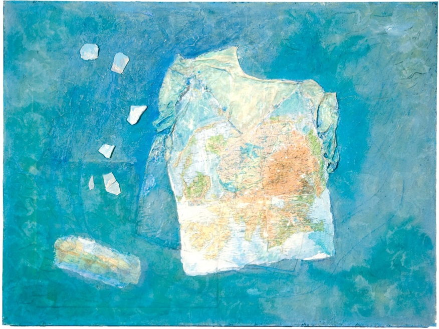 "Mary Mountcastle Eubank Flotation Device, Tranquility, Tranquility"", acrylic on canvas with mixed media, 48"" x 36"""