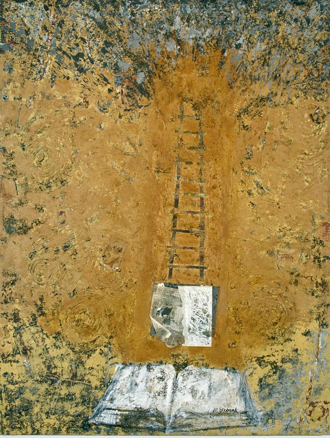 "Mary Mountcastle Eubank, Tree Ladder Book, acrylic on canvas with mixed media, 60"" x 78"