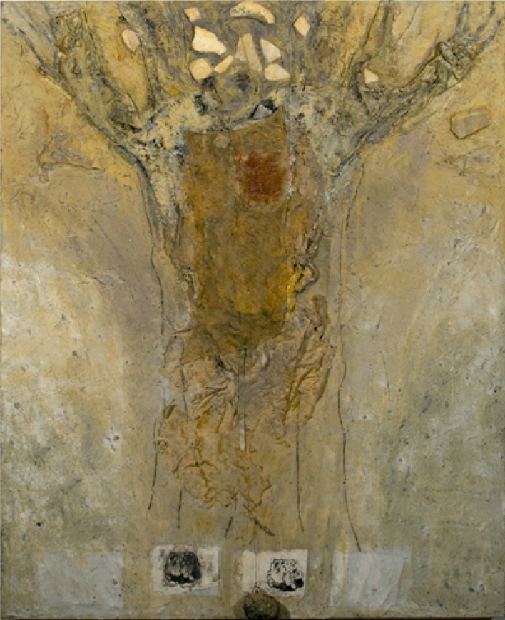 "Mary Mountcastle Eubank, Tree with 3 Rocks, acrylic on canvas with mixed media, 48"" x 60"""