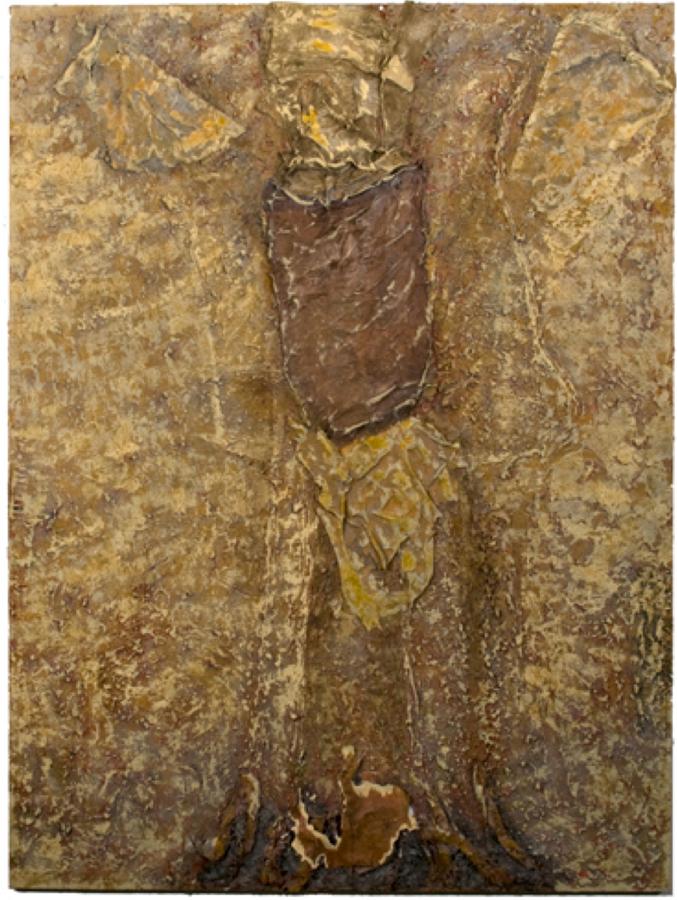 "Mary Mountcastle Eubank, Visitor, acrylic on canvas with mixed media, 44"" x 59"""