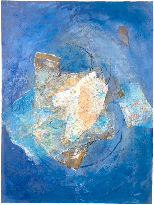 "Mary Mountcastle Eubank, Flotation Devices: Vortex, acrylic on canvas with mixed media, 48"" x 36"""