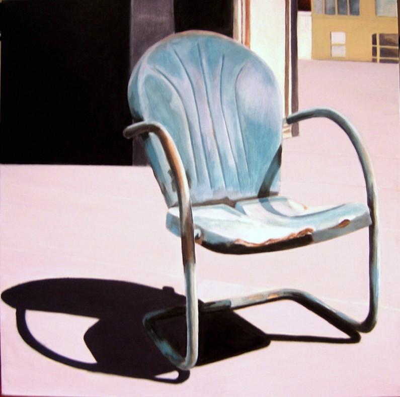 Candace Loheed, On the Roof, 24 x 24, acrylic on canvas