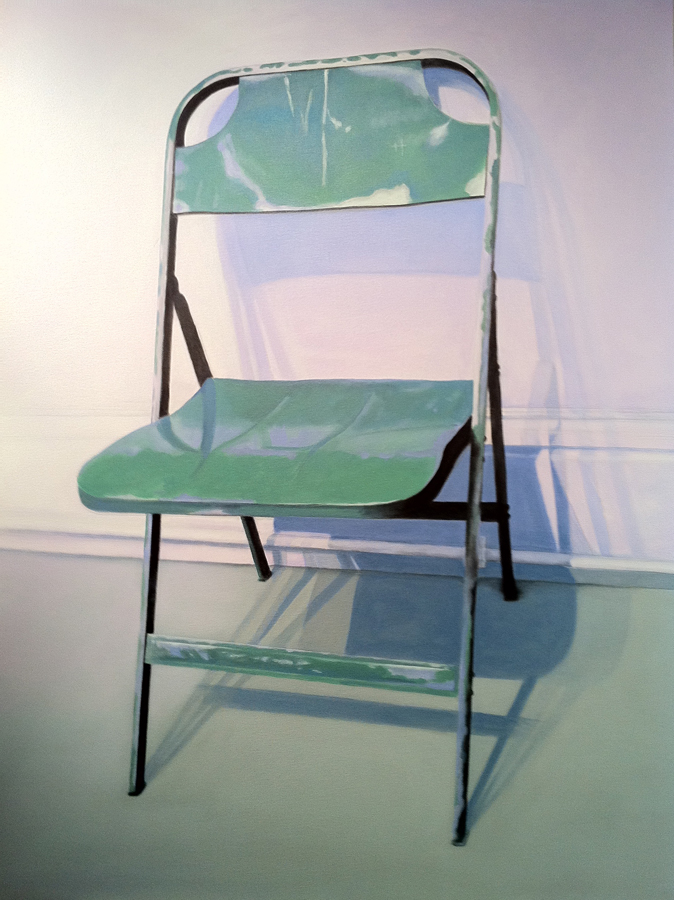 Candace Loheed, Green Metal Folding Chair