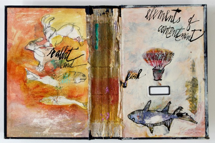Dorothy Nissen, Elements of Contentment, mixed media, altered book