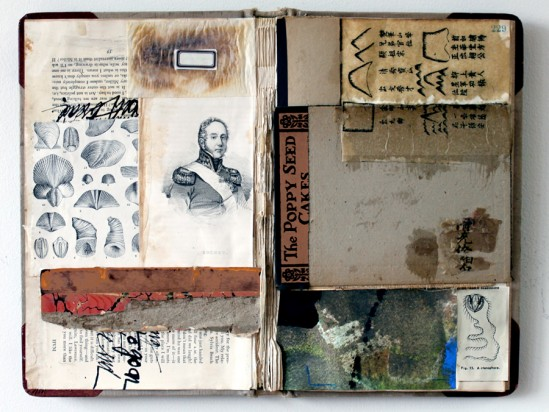 Dorothy Nissen, Poppy Seed Cake, collage on altered book
