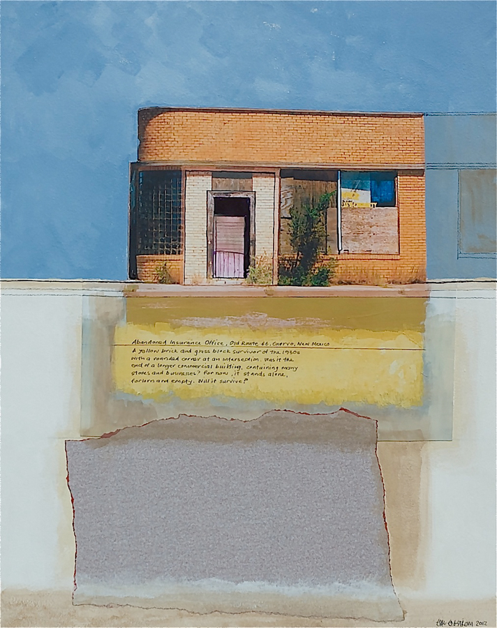 "Eric Engstrom, Abandoned Insurance Office, 2012 m/m, photo-collage, 18"" x 24"" x 2"""