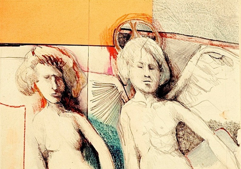"""Eric Engstrom, Guardian Angels, 1975, acrylic, collage, m/m on paper, 11"""" x 9"""""""