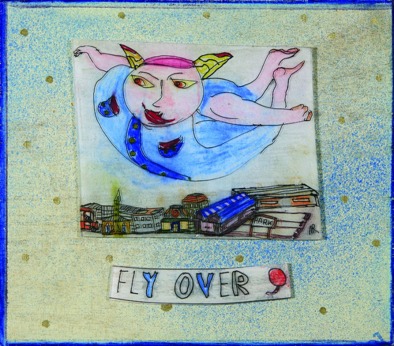 Andrew Romanoff, Fly Over, shrink art on wood panel