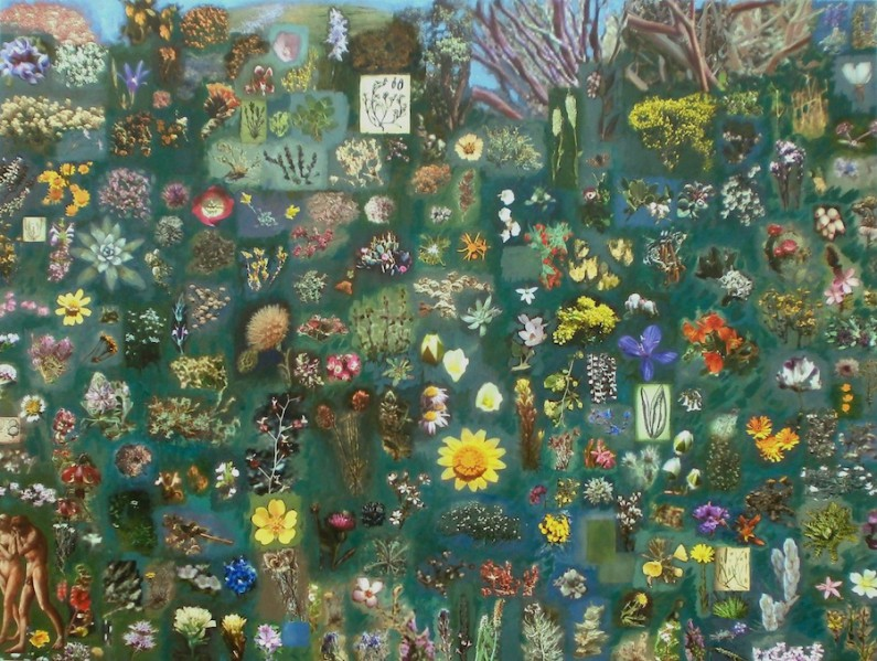 Patti Trimble, Leaving Eden (150+Endangered Calfornia Species) oil on digital print on canvas, 36