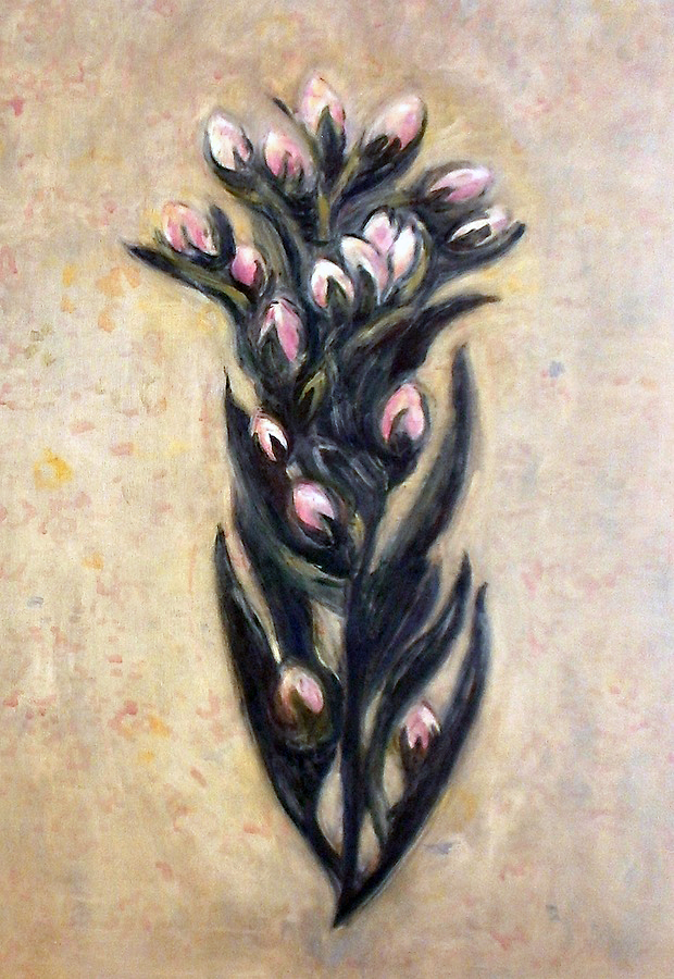 Patti Trimble, Marin Dwarf Flax, oil on linen, 37