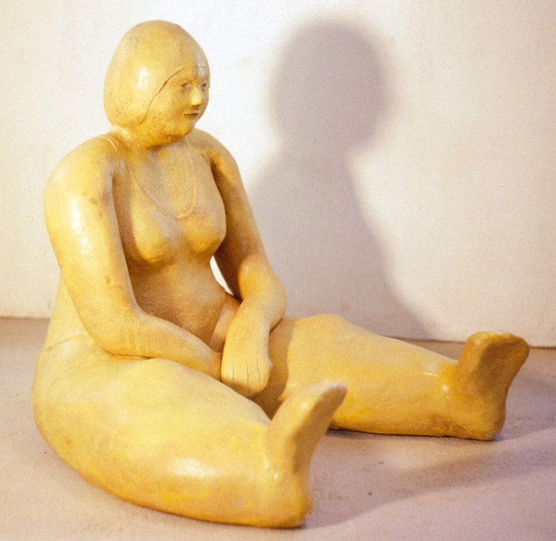 Mimi Abers, Lady on the Beach, fired clay