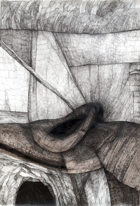 Zea Morvitz, Philosopher's Landscape, ink and watercolor on paper