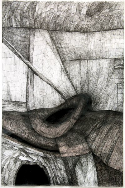 Zea Morvitz, Philosopher's Landscape, ink on paper, 35 x 28 ins.