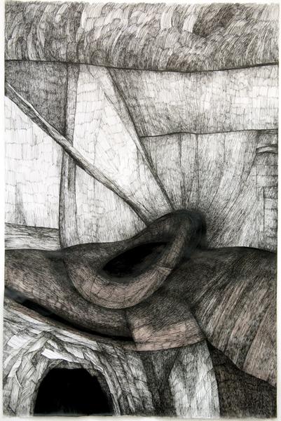 Zea Morvitz, Philosopher's Landscape, ink on paper, 35 x 28 ins.
