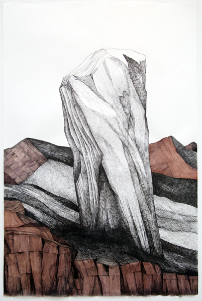 Zea Morvitz, Standing Stone, ballpoint pen and watercolor, 35 x 28