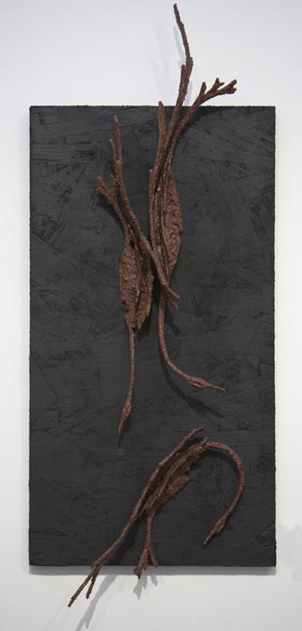 Marj Burgstahler Stone, Enviromental Mutation, 28H x 14W x 2 3/4D, wood mache, hardware cloth and particleboard