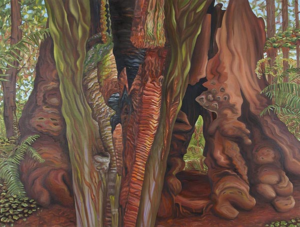 Linda MacDonald, Vulcans Deed, oil on canvas, 30h x 40w