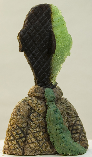 Mimi Abers, The Wonderful Green Tie, kiln cast glass & fired clay, 10