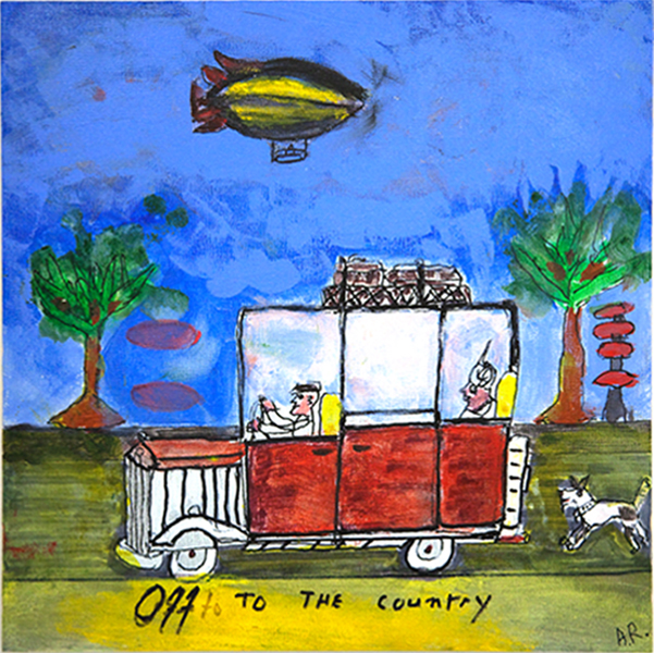 Andrew Romanoff, Off to the Country, shrink art, 12 x 12 ins