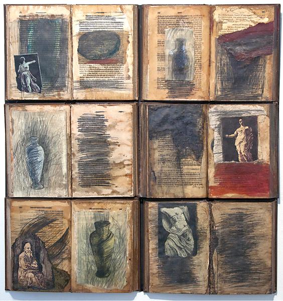 Zea Morvitz, Twilight of the Idols, mixed media on 6 discarded books