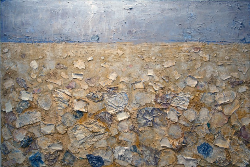 Mary Mountcastle Eubank, Other Shore, 2001-2013, acrylic and m/m, 48 x 72 ins.