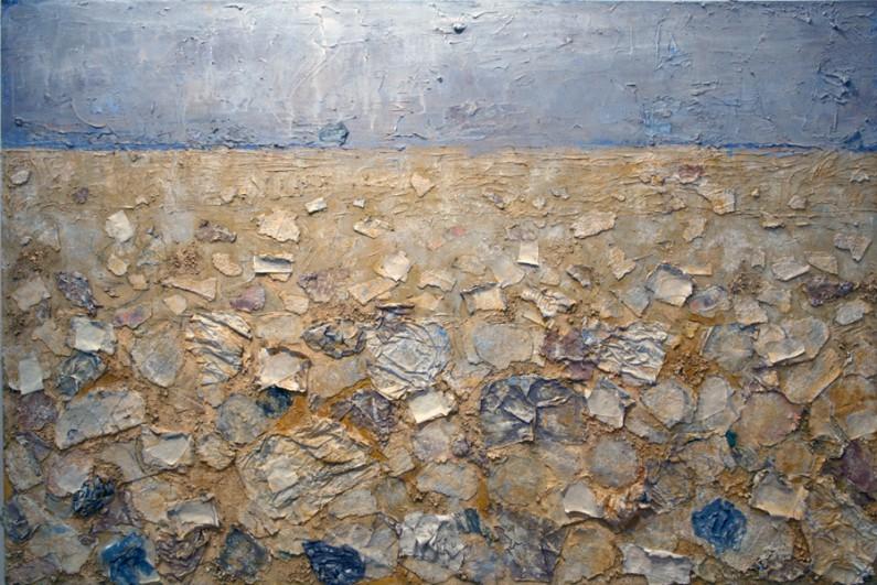 Mary Mountcastle Eubank, Other Shore, 2001-2013, acrylic and m/m, 48 x 72 ins.