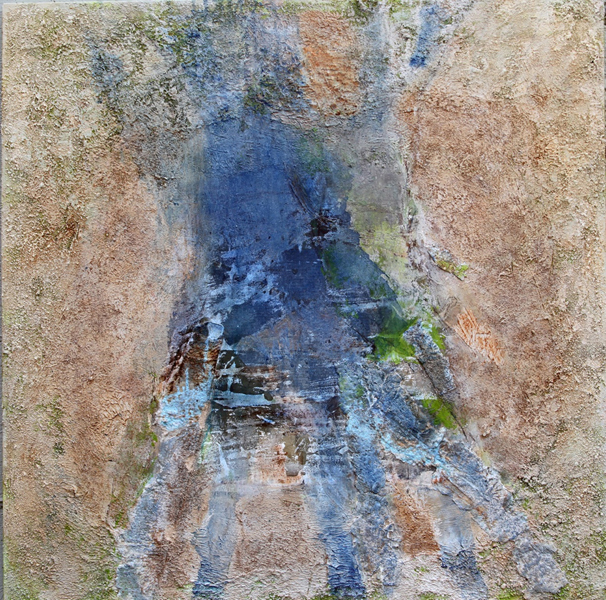 Mary Mountcastle Eubank, Blue Roots 1, acrylic on canvas with mixed-media, 44x 44