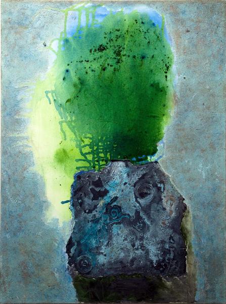 Mary Mountcastle Eubank, Totem, 2013, acrylic on canvas with m:m, 36 x 48 ins.