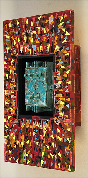 Will Thoms, Sparky's Dream (side view), mixed media with electrical circuit breaker 20 x12 x4-1/2, 2012