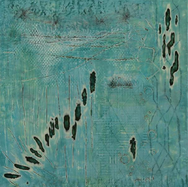 Barbara Maricle, Winter SeriesXVI, encaustic, 18 x 18