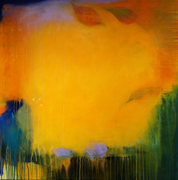 Candace Loheed into yellow 36 x 36 acrylic