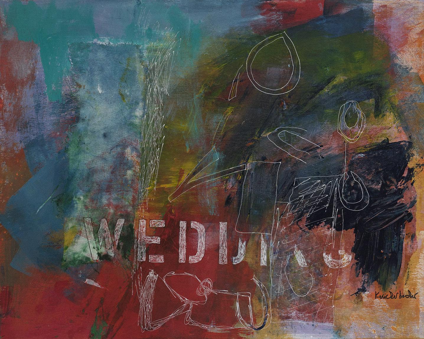 Ann Knickerbocker, Wedding, mixed media,16x20