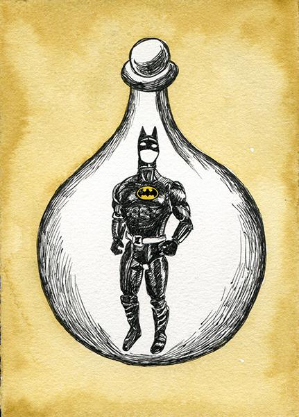 Zea Morvitz, Batman, ink and watercolor on paper, 8 x 6