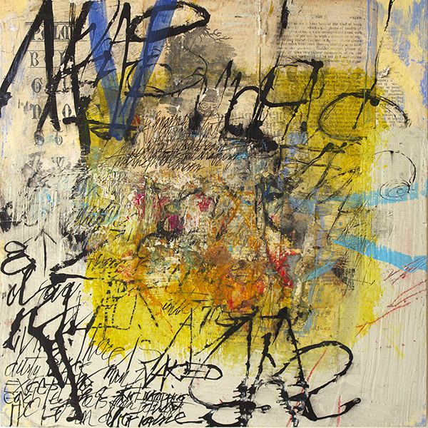Dorothy Nissen, Map of Chaos, acrylic and mm,14x14 ins.