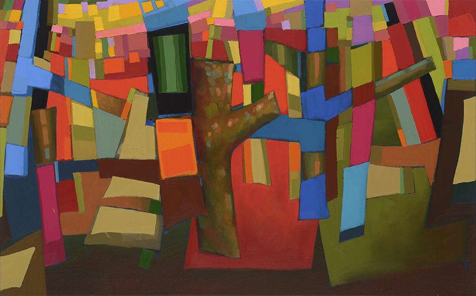 Janine Castillo, Grading Red, 30x48 insoil on canvas $1200