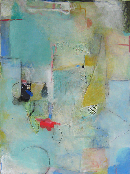 Judy Levit, Sea Blue, acrylic and collage, 40x30 ins.