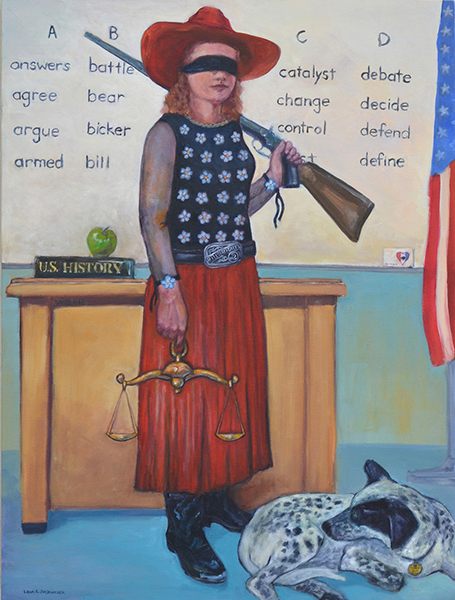 Lidia Hasenauer, Justice Get Your Gun, oil, 40x30 ins.