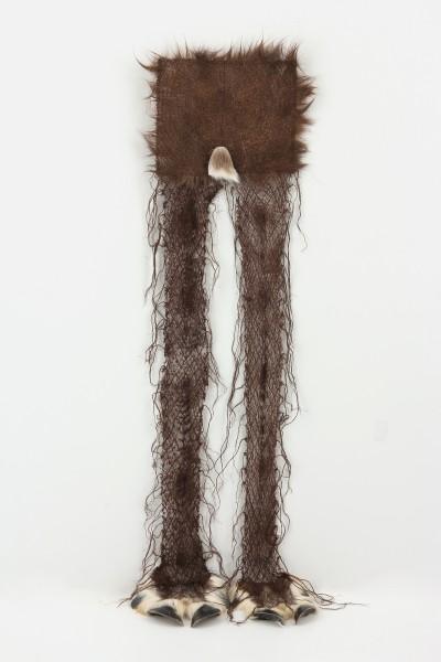 tc moore, leggings, horse hair, reindeer hooves, thread, 12 x 48