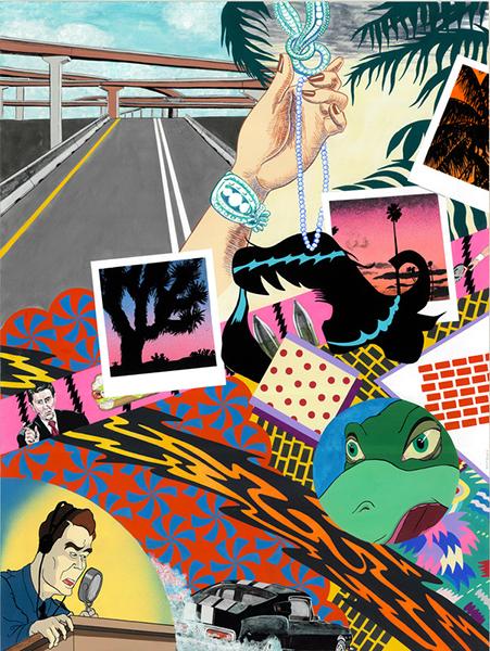 Jessica Eastburn, Caesar's Shoulder Blades, Gouache and Spraypaint on paper, 24 x 18 ins.