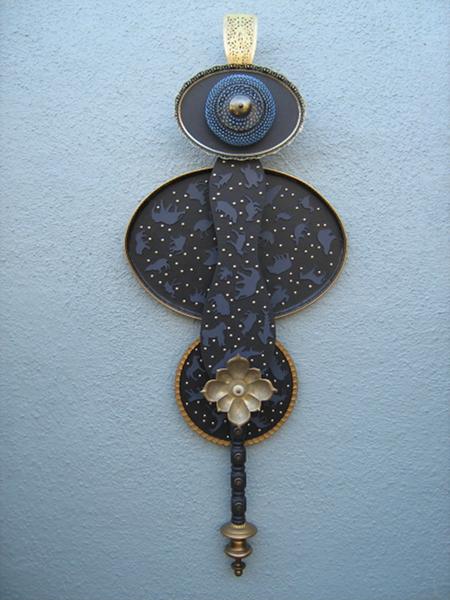 Jon Kerpel, Earth Saint in Violet, mixd media 62 x 24 x 9