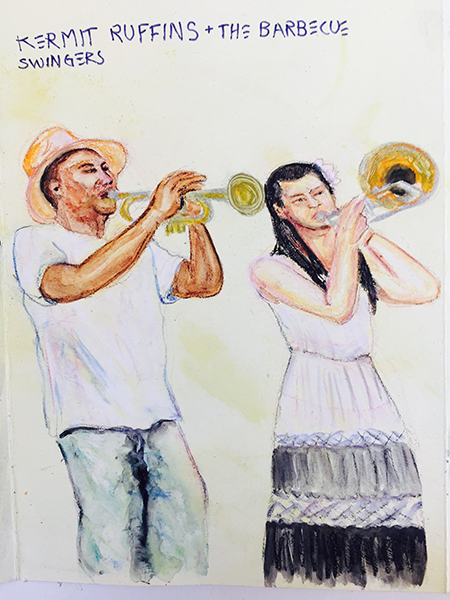 Vickisa, Kermit Ruffins and the BBQ Swingers, watercolors on paper