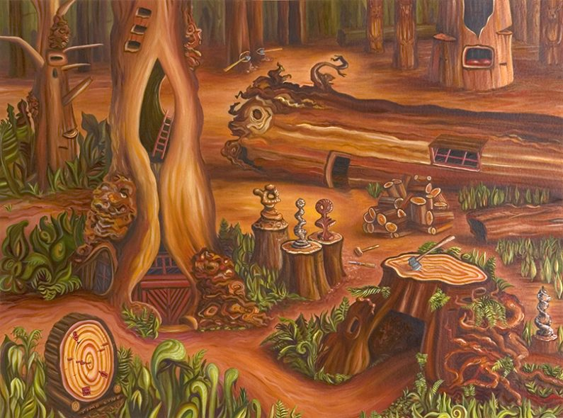 Linda MacDonald, Carving into the Primordial, oil, 22 x30