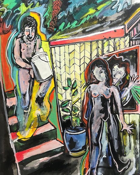 Isis-Hockenos-Naked-Work-Party-india-ink-gouache-colored-pencil-on-paper-12x9