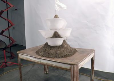 Joe Fox, In Memory of Water, plaster, earth, paper, and found table