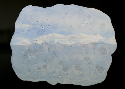 Tania, Houtzager, Heavy Clouds, Fug, inkjet transfer plaster and acrylic glass- 14inx 14in