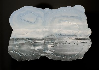 Tania Houtzager, Heavy Clouds, Debris, inkjet transfer plaster and acrylic glass, 14inx 14in